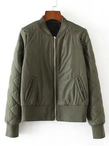 Online Zip-Up Fitting Quilted Winter Bomber Jacket ARMY GREEN L