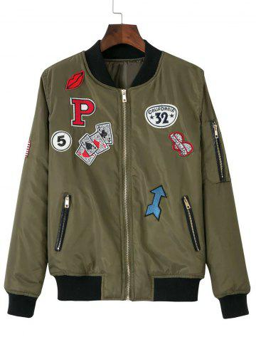Fancy Zip-Up Patched Jacket ARMY GREEN L