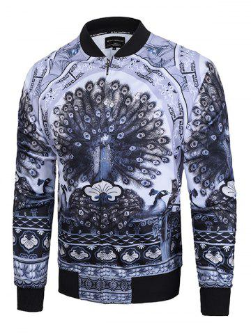 New Peacock Printed Raglan Sleeve Zip Up Jacket GRAY L