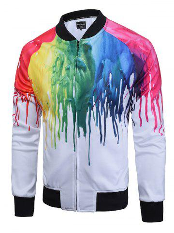 Shop Paint Dripping Print Zip Up Raglan Sleeve Jacket