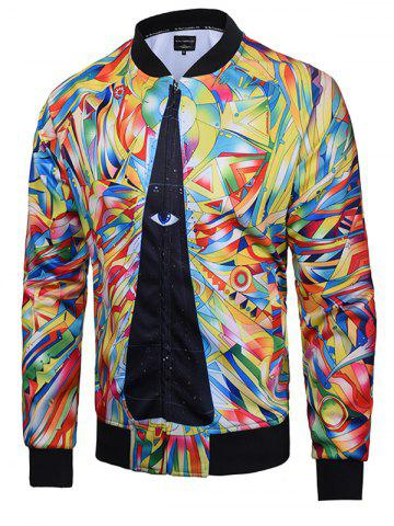 Shop Abstract Print Zip Up Raglan Sleeve Jacket COLORMIX 3XL