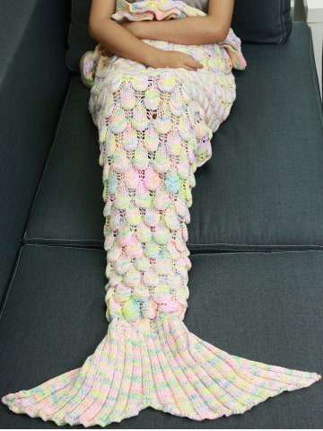 Latest Knitted Openwork Fish Scale Design Mermaid Blanket For Kids