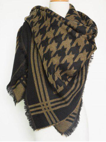 Store Winter Jacquard Houndstooth Fringed Shawl Blanket Scarf BROWN