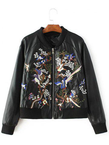 Latest PU Embroidered Zip-Up Jacket