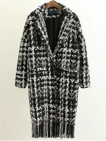 Chic Houndstooth Fringed Woolen Coat WHITE AND BLACK L