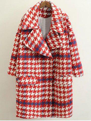 Outfit Woolen Houndstooth Cocoon Coat RED L