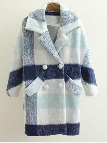 Woolen Checked Pea Coat - Light Blue - M