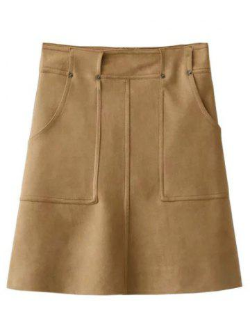 Fancy Faux Suede Pockets A-Line Skirt KHAKI L