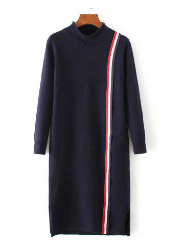 High Neck Slit Striped Sweater Dress - Purplish Blue - One Size