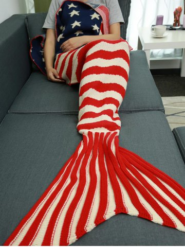 Affordable Stars and Stripes Pattern Knitting Mermaid Tail Blanket