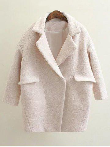 Pockets Loose Pea Coat - Off-white - S