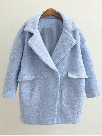 Discount Pockets Loose Pea Coat - M LIGHT BLUE Mobile