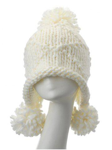 Outfit Big Ball Stripy Acrylic Knit Beanie Hat - WHITE  Mobile