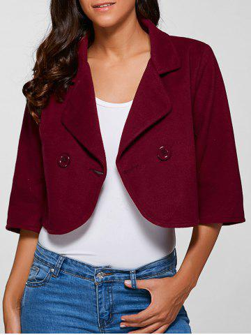 Store 3/4 Sleeve Buttoned Wool Cropped Jacket