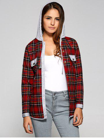 Affordable Plaid Drawstring Hooded Flannel Shirt - M RED Mobile