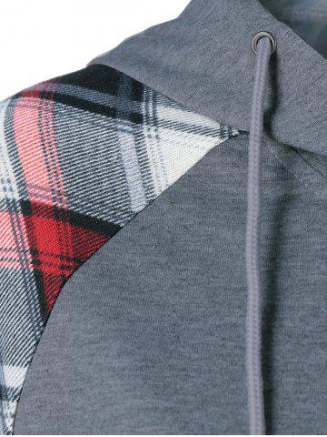 Cheap Plaid Trim Single Pocket Hoodie - L GRAY Mobile