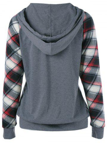 Unique Plaid Trim Single Pocket Hoodie - L GRAY Mobile