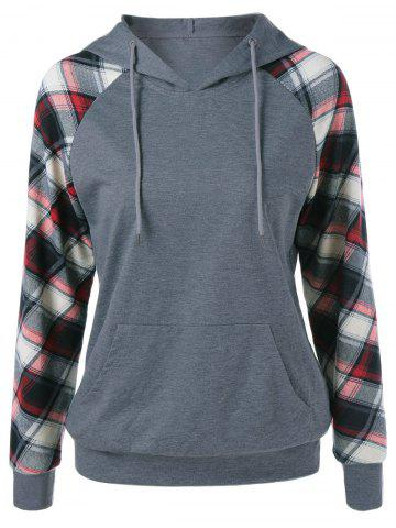 Outfits Plaid Trim Single Pocket Hoodie - L GRAY Mobile