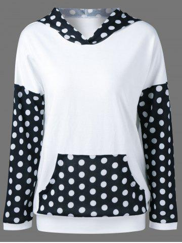 Chic Polka Dot Trim Hoodie WHITE AND BLACK XL