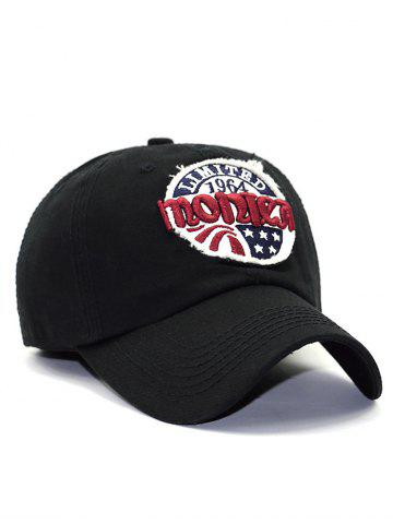 Trendy Letter Star Embroidery Patch Baseball Hat - BLACK  Mobile