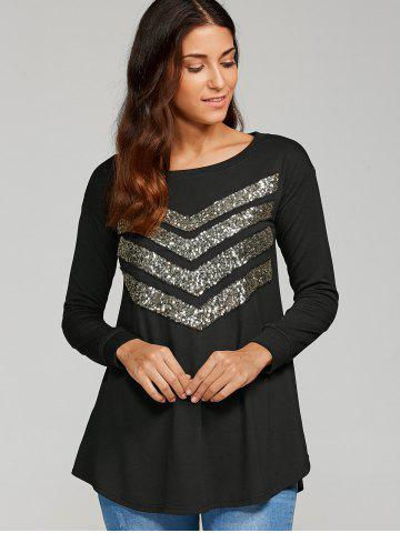 Discount Sequined Zigzag Pattern Blouse