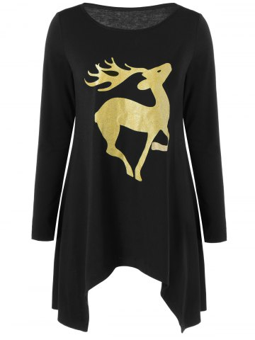 Cheap Gilding Wapiti Pattern Asymmetrical Blouse - M BLACK Mobile
