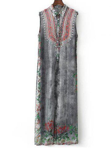 Fancy Rhinestoned Vintage Printed Dress