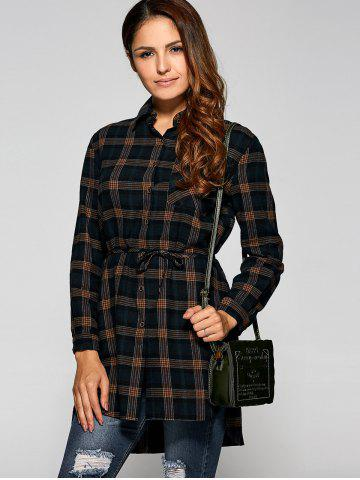 New High Low Plaid Shirt Dress