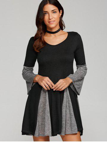 Cheap Mini Spliced Fit and Flare Dress - M BLACK AND GREY Mobile