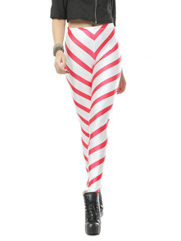 Strip Bodycon Leggings - Red With White - M