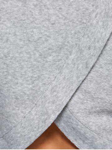 Discount Back Cross Pullover Hoodie - M GRAY Mobile