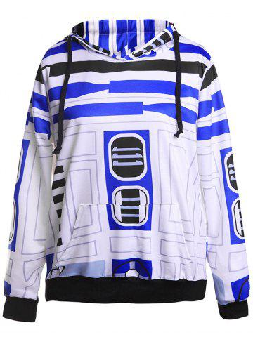 Fancy Geometrical Funny Pullover Hoodie BLUE/WHITE M