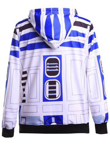 Trendy Geometrical Funny Pullover Hoodie - M BLUE AND WHITE Mobile