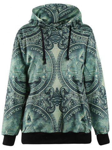 Trendy 3D Coin Print Pullover Hoodie DEEP GREEN M