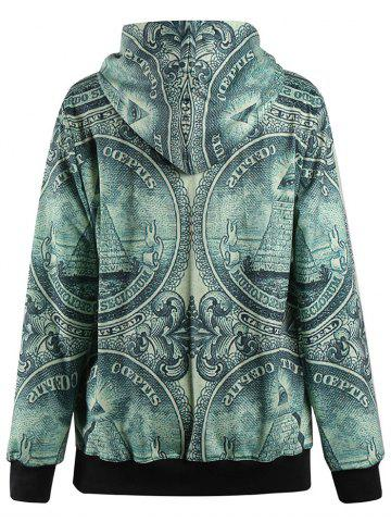 Buy 3D Coin Print Pullover Hoodie - M DEEP GREEN Mobile