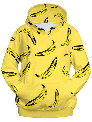 Chic Banana Print Pullover Hoodie - M YELLOW Mobile