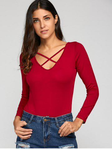 Discount Crossback Bodycon Long Sleeve Bodysuit - S WINE RED Mobile