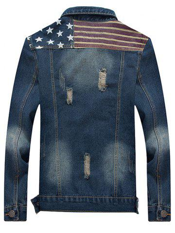 Latest Turn-Down Collar Star and Stripe Print Distressed Denim Jacket - 3XL BLUE Mobile