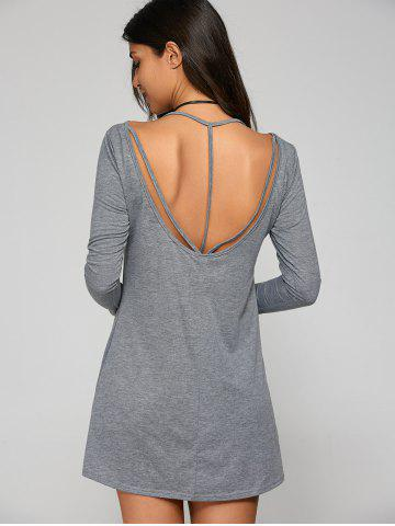 Mini Open Back T-Shirt Dress - Gray - S