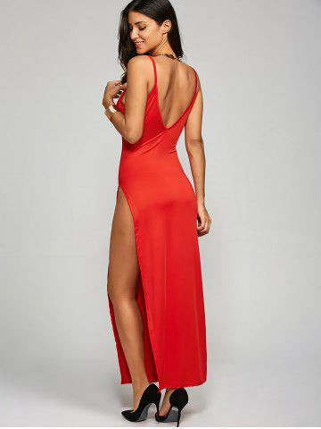 Unique High Slit Long Sleeveless Cami Dress - L RED Mobile