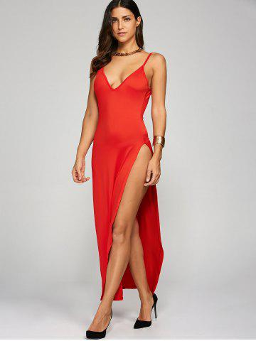 Outfits High Slit Long Sleeveless Cami Dress - L RED Mobile