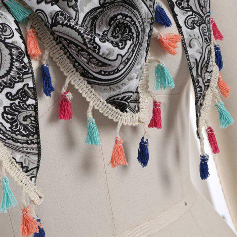 Outfit Outdoor Arab Print Colorful Tassel Chiffon Triangle Scarf - GRAY  Mobile