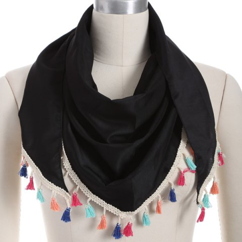 Outfit Outdoor Colorful Tassel Chiffon Triangle Scarf BLACK