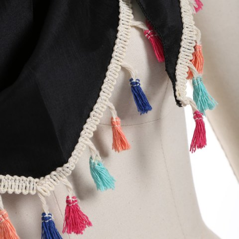 Chic Outdoor Colorful Tassel Chiffon Triangle Scarf - BLACK  Mobile