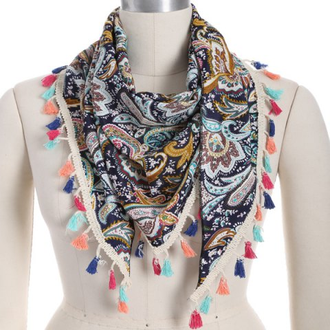 Chic Outdoor Paisley Print Colorful Tassel Chiffon Triangle Scarf