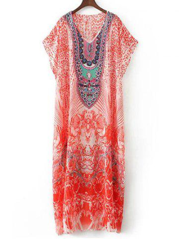 Best Rhinestoned Vintage Maxi Dress - M RED Mobile