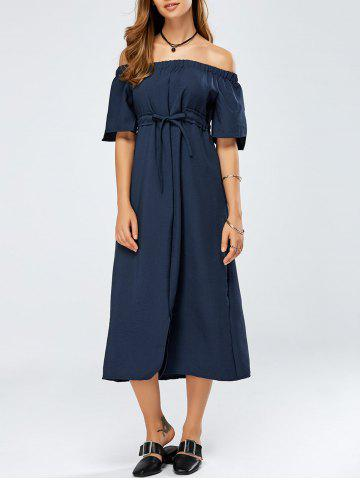 Off The Shoulder Lace-Up Empire Waist Dress - Cadetblue - One Size
