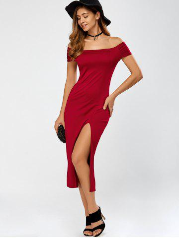 Affordable Cut Out High Slit Off The Shoulder Dress