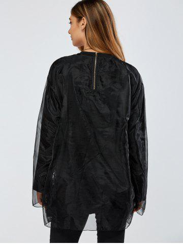 Shop Streetwear Organza Double-Deck Sweatshirt - ONE SIZE BLACK Mobile