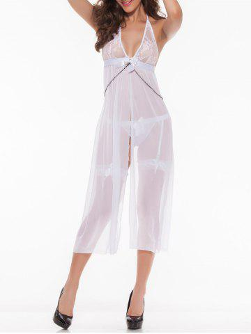 New Transparent Sleepwear Bowknot Open Side Halter Lace Nightdress - WHITE XL Mobile